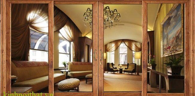 Cửa nhôm kính vân gỗ banner Ưu điểm nổi trội của cửa nhôm kính vân gỗ