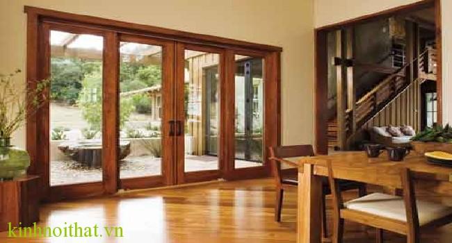 Cửa nhôm kính vân gỗ mở gấp Ưu điểm nổi trội của cửa nhôm kính vân gỗ