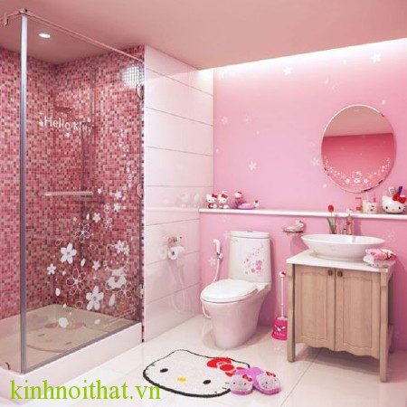 Mẫu phòng tắm kính đẹp cho bé gái