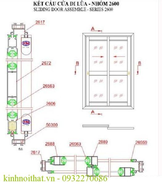 bản vẽ cửa nhôm việt pháp hệ 2600 lùa Định nghĩa cửa nhôm việt pháp hệ 2600 trượt lùa