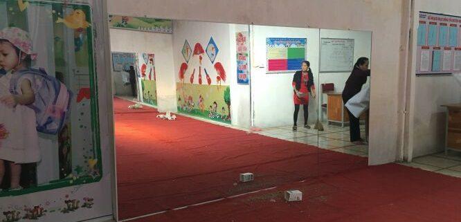 gương phòng tập múa tại trường mầm non vạn xuân linh đàm Lắp đặt gương phòng tập giá rẻ cho trường mầm non